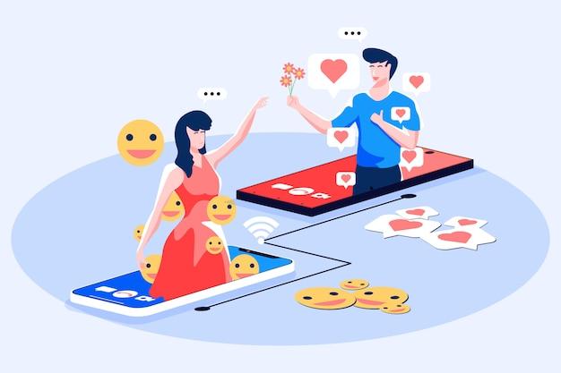Ilustración de videollamada de redes sociales Vector Premium