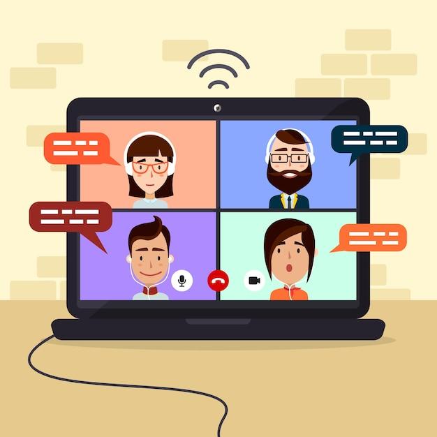 Ilustración de videollamadas de amigos en la computadora portátil vector gratuito