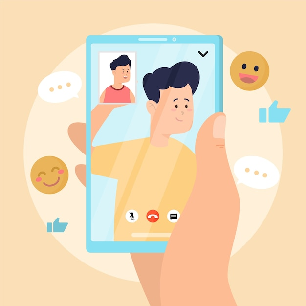 Ilustración de videollamadas de amigos en el teléfono inteligente vector gratuito