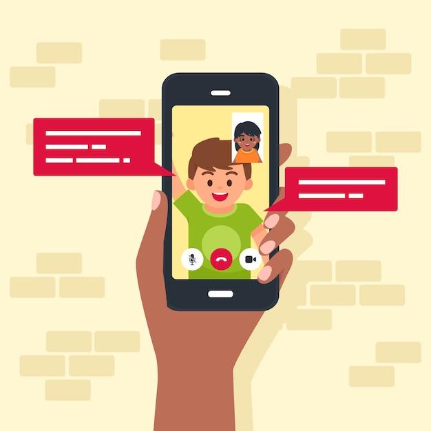 Ilustración de videollamadas de amigos en el teléfono móvil vector gratuito