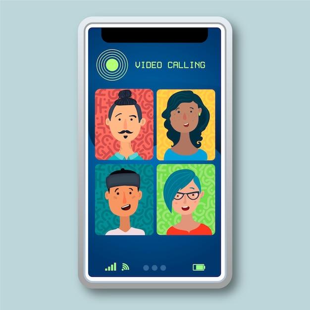 Ilustración de videollamadas de amigos en teléfonos inteligentes vector gratuito
