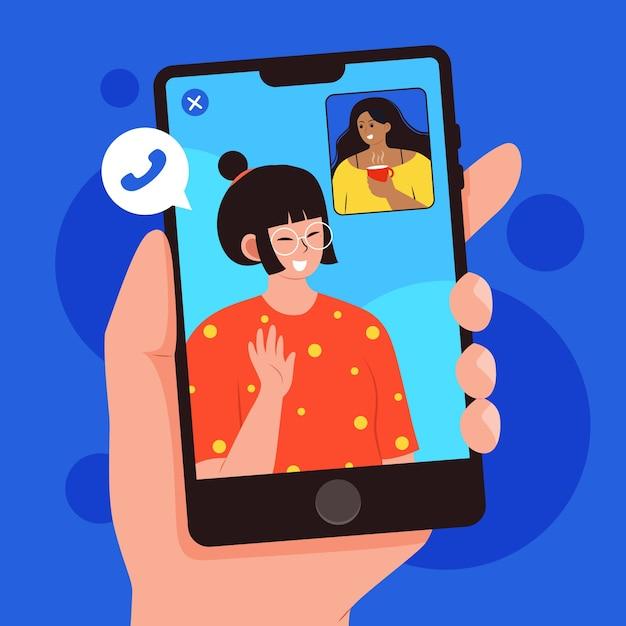 Ilustración de videollamadas de amigos en teléfonos vector gratuito