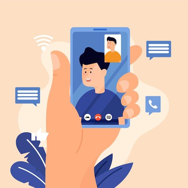 Ilustración de videollamadas de amigos vector gratuito