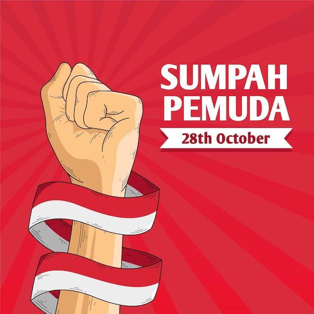 Ilustración vintage de sumpah pemuda Vector Premium