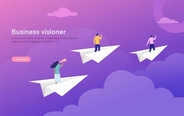 Ilustración de visión empresarial, personaje plano de pie en avión de papel con binoculares, personas que logran el objetivo Vector Premium