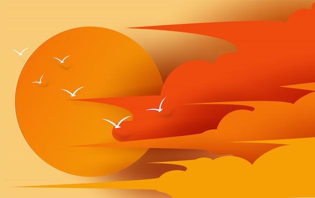 Ilustración de vista de cloudscape y puesta de sol Vector Premium