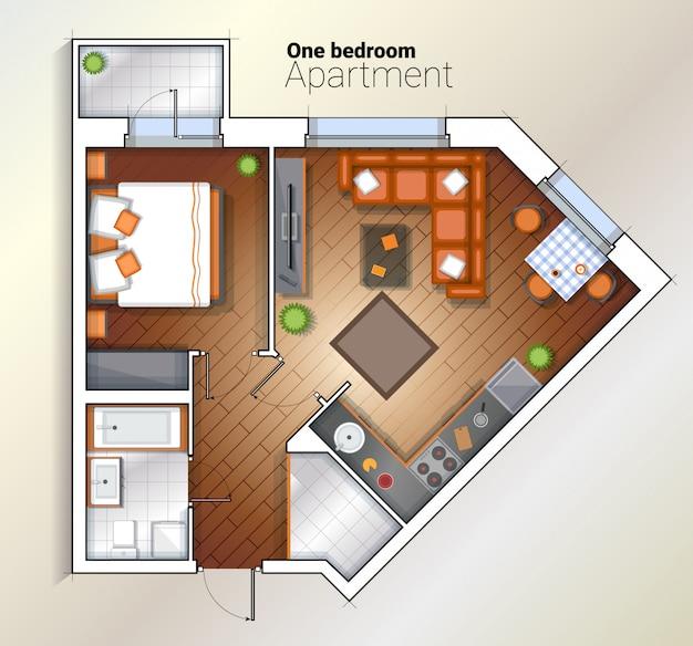 Ilustración de vista superior de vector moderno apartamento de un dormitorio Vector Premium