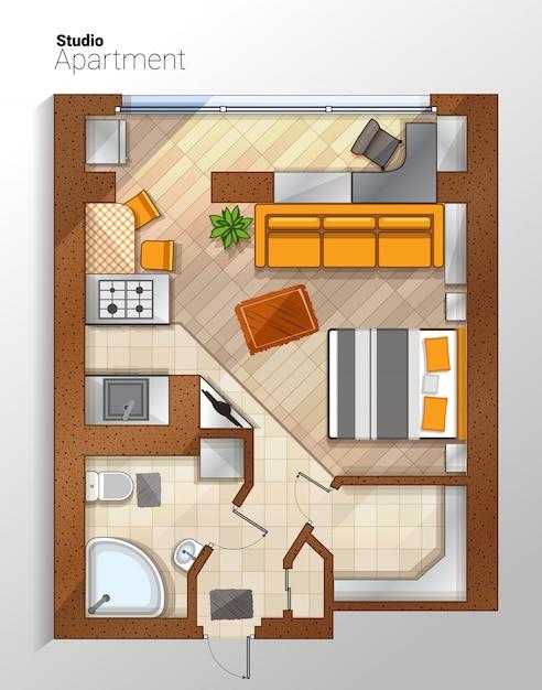 Ilustración de vista superior de vector moderno apartamento estudio Vector Premium