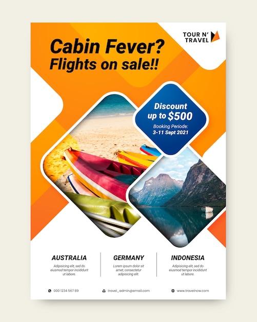 Ilustración de volante de venta de viajes vector gratuito