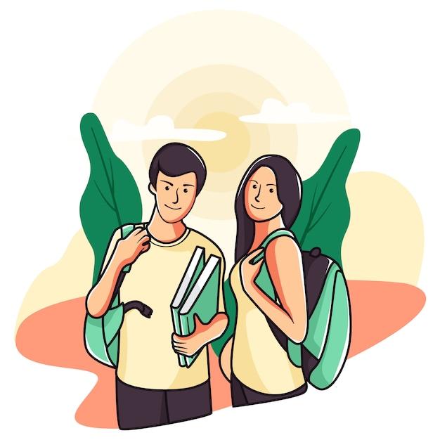 Ilustración de volver juntos a la escuela Vector Premium