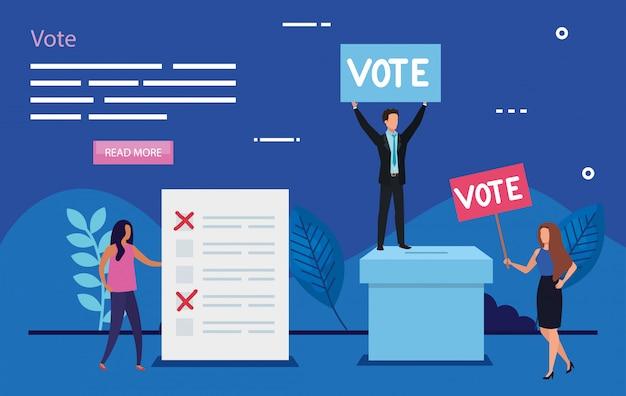 Ilustración de voto con gente de negocios Vector Premium
