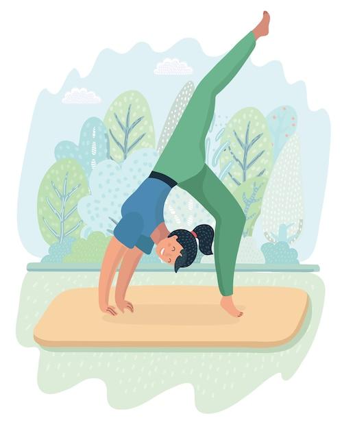 Ilustración de yoga de postura de mujer en el fondo del parque. chica guapa haciendo ejercicio en el paisaje de la naturaleza. + Vector Premium