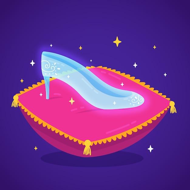 Ilustración con zapato de cristal de cenicienta vector gratuito