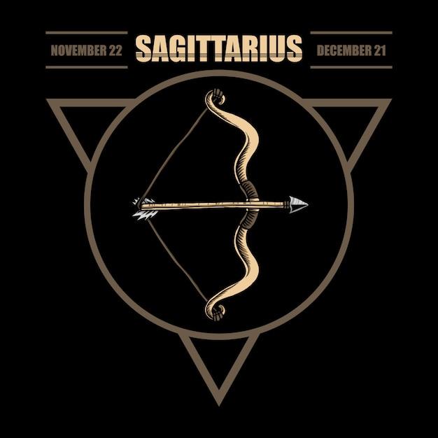 Ilustración del zodiaco sagitario Vector Premium