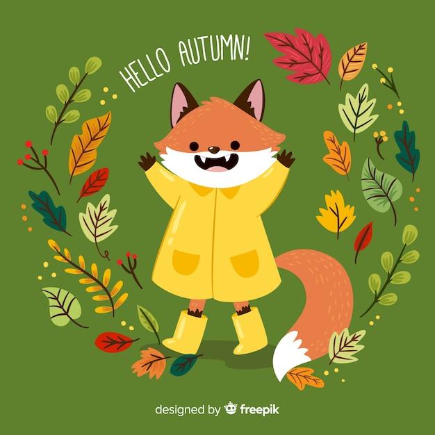Ilustración zorro adorable con chubasquero y elementos de otoño vector gratuito