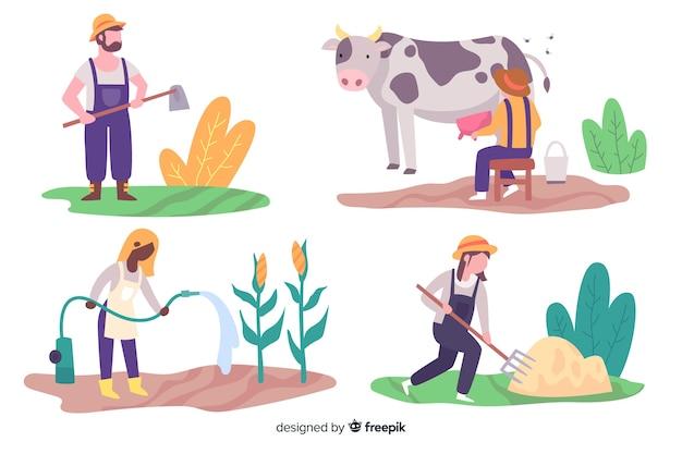 Ilustraciones de agricultores trabajando colección vector gratuito