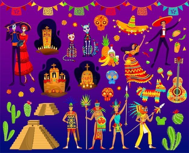 Ilustraciones aztecas mexicanas, dibujos animados con adornos folclóricos tradicionales o elementos de fiesta del día de muertos de méxico Vector Premium
