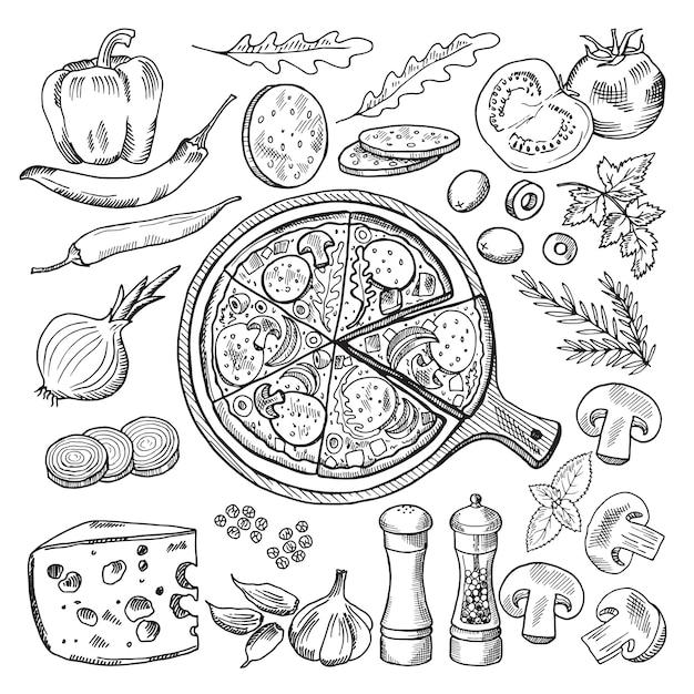 Ilustraciones de la cocina italiana clásica. pizza y diferentes ingredientes. conjunto de imágenes de comida rápida. Vector Premium