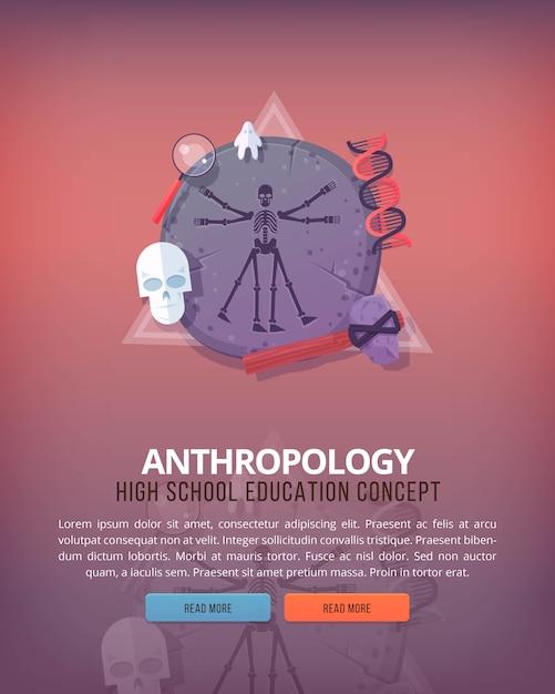 Ilustraciones del concepto de educación y ciencia. antropología ciencia de la vida y origen de las especies. bandera. Vector Premium