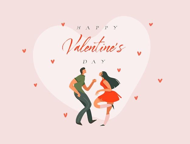 Ilustraciones de concepto de happy valentines gráfico moderno de dibujos animados abstractos dibujados a mano Vector Premium