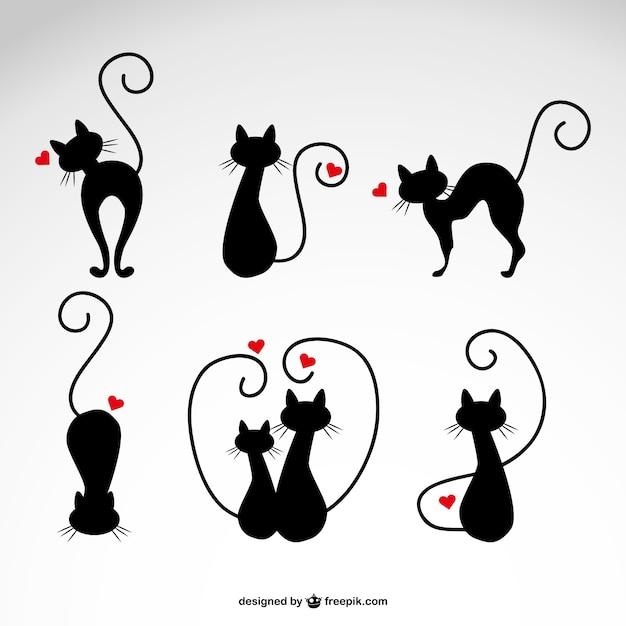 Ilustraciones de gatos negros con corazones Vector Gratis