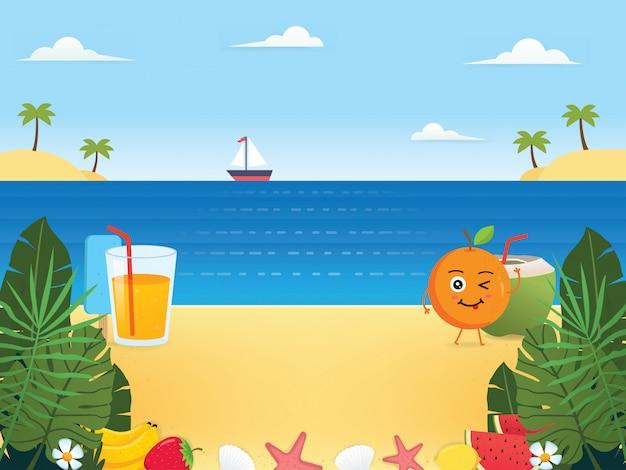 Ilustraciones de fondo de verano Vector Premium