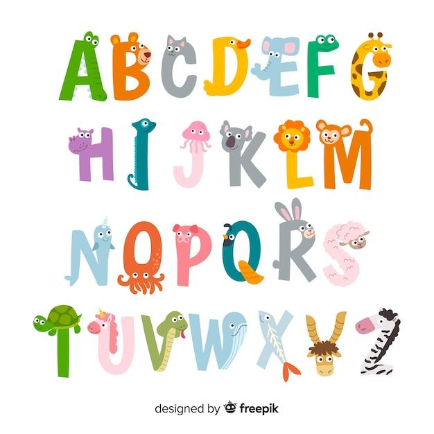 Ilustraciones de letras de animales lindos vector gratuito