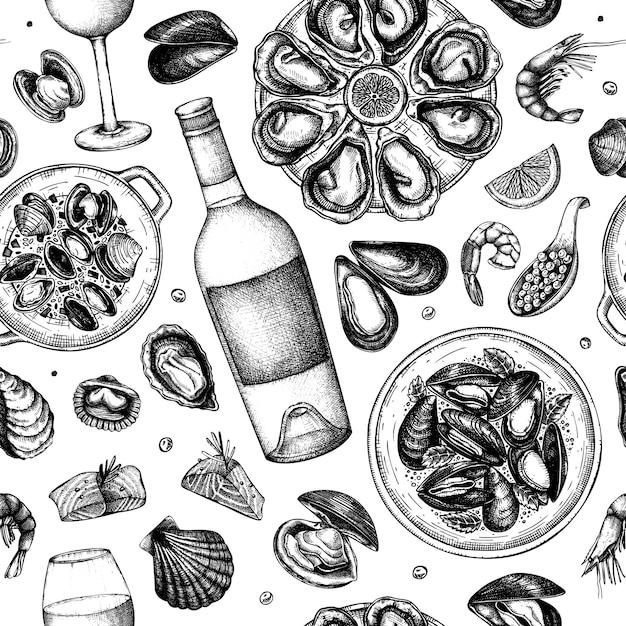Ilustraciones de mariscos y vinos de patrones sin fisuras. mariscos dibujados a mano: mejillones, ostras, camarones, caviar, dibujos de peces. perfecto para receta, menú, entrega, empaque. fondo de cocina mediterránea Vector Premium
