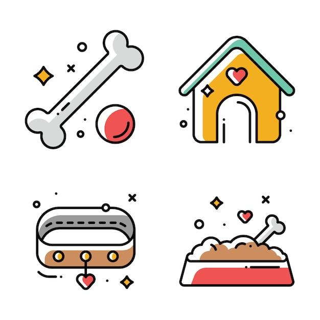 Ilustraciones de perrera, collar, comida seca en un tazón y juguetes Vector Premium