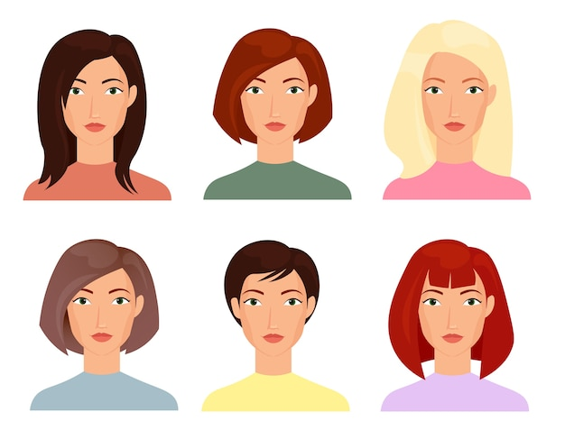 Las ilustraciones de rostros femeninos establecen personajes de cortes de pelo de moda cortos y largos de mujeres rubias brunet Vector Premium