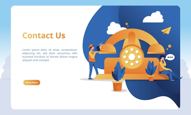 Ilustraciones telefónicas y llamadas para contactarnos página para plantillas de página de destino Vector Premium