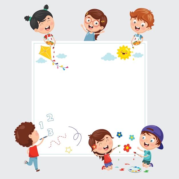 Ilustraciones vectoriales de niños pintando en blanco banner ...
