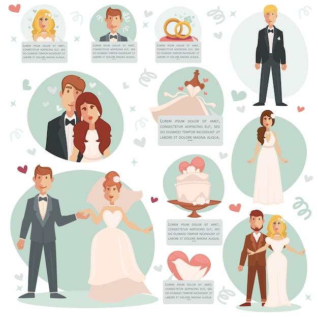 Ilustraciones vectoriales de novia y novio. Vector Premium