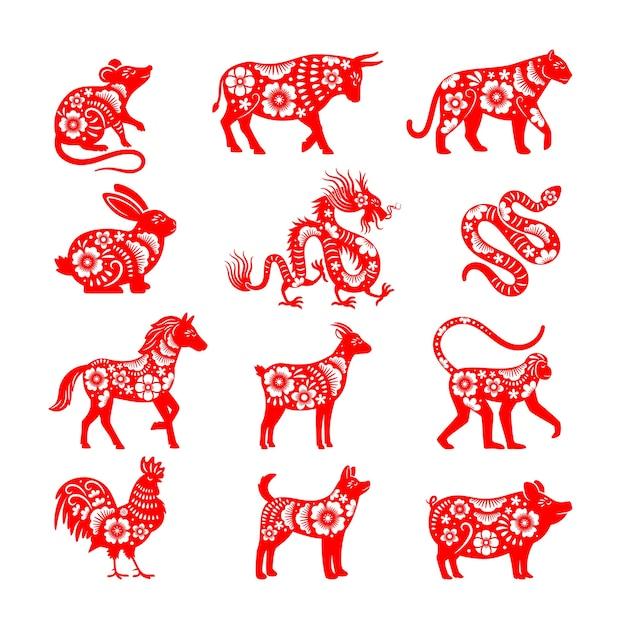 Ilustraciones del zodiaco chino tradicional. vector de símbolos de animales del horóscopo de china, vectores de toro y ratón, cerdo y dragón para papercut Vector Premium