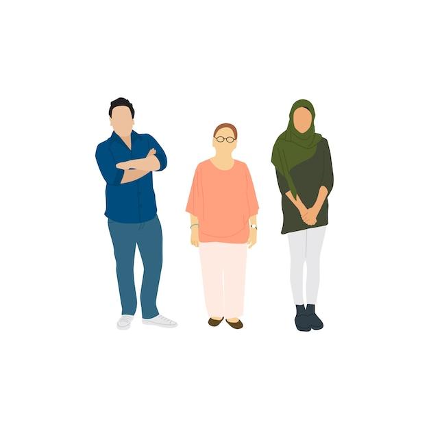 Ilustradas diversas personas casuales. vector gratuito