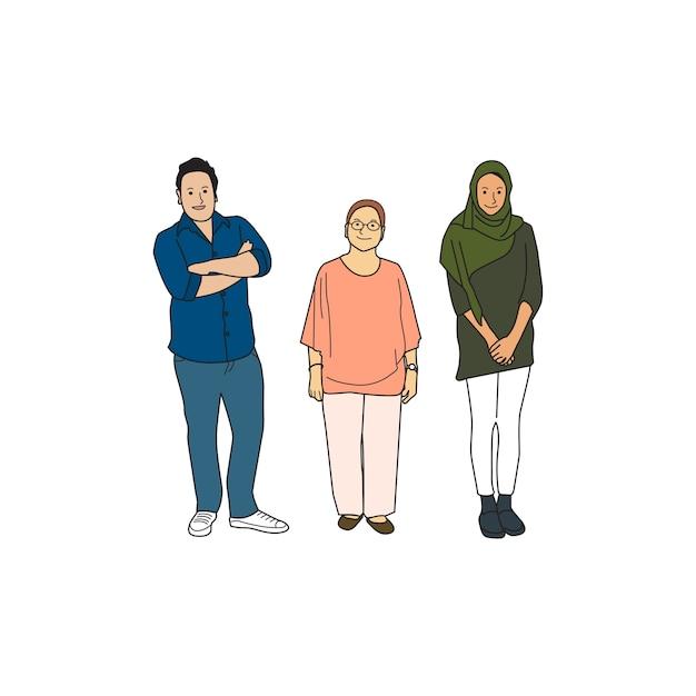 Ilustrado diversas personas casuales vector gratuito