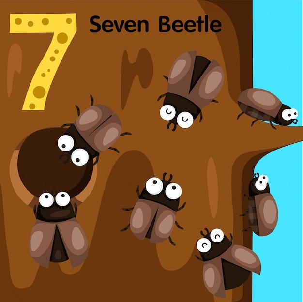Ilustrador del escarabajo número siete. Vector Premium