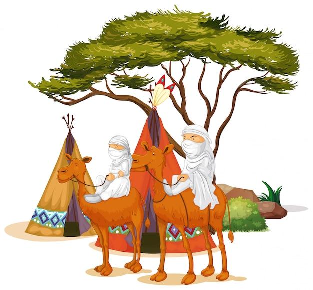 Imagen aislada de personas montando camellos vector gratuito