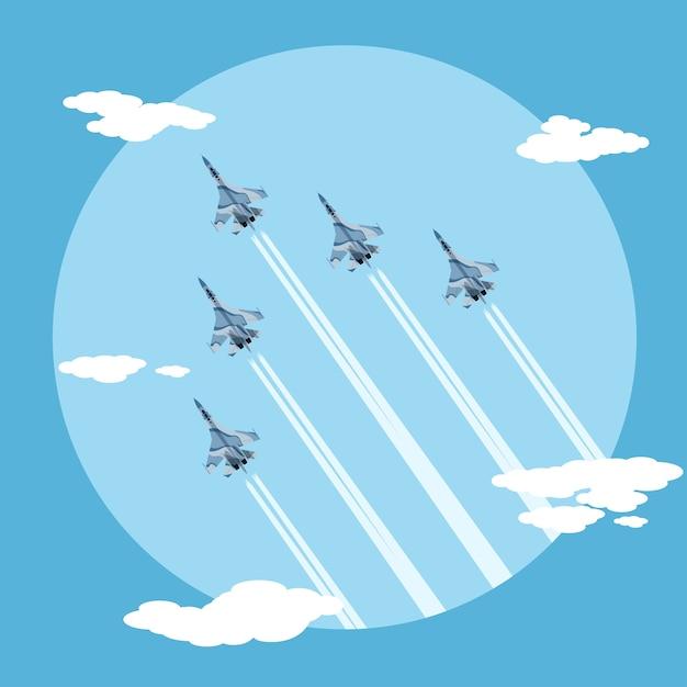 Imagen de cinco aviones de combate volando orden de combate, ilustración de estilo Vector Premium