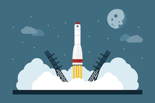 Imagen del cohete espacial inicial, concepto de estilo para inicio de negocios, lanzamiento de nuevo servicio o producto Vector Premium
