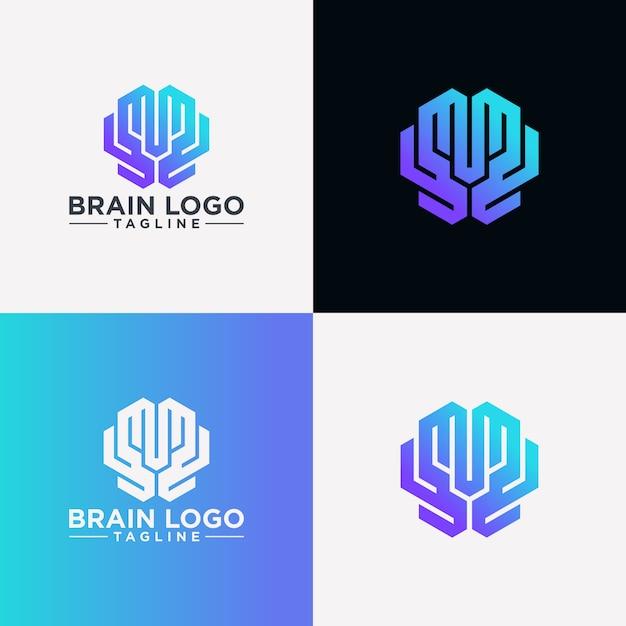 Imagen creativa del logotipo del cerebro Vector Premium