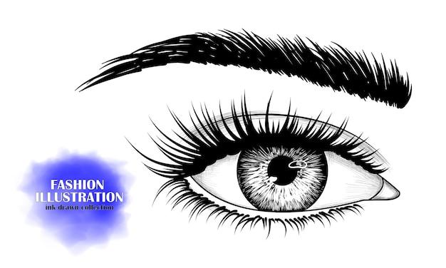 Imagen dibujada a mano en blanco y negro del ojo. Vector Premium