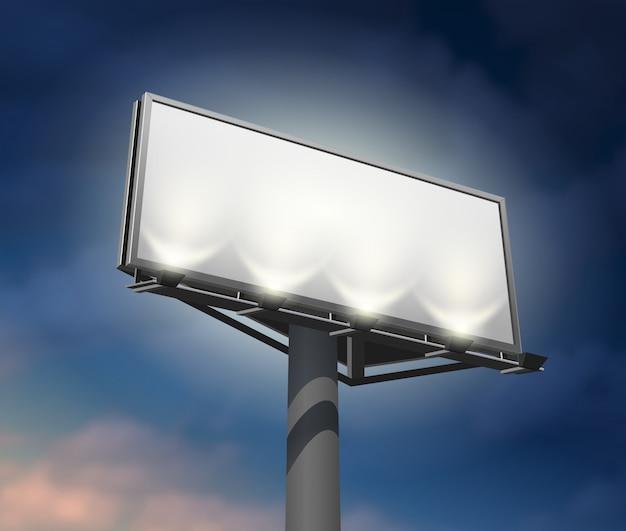Imagen iluminada de la noche de billboard vector gratuito