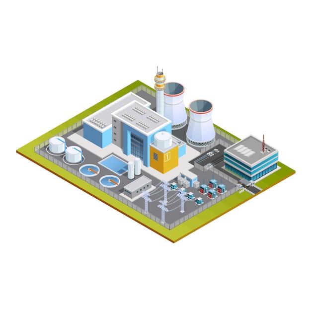 Imagen isométrica de la estación nuclear vector gratuito