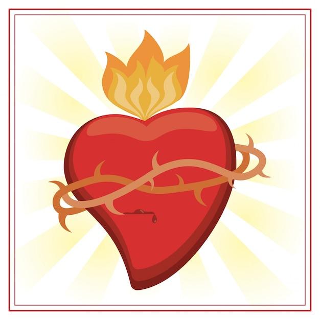 Imagen De Jesucristo Del Sagrado Corazón Descargar Vectores Premium