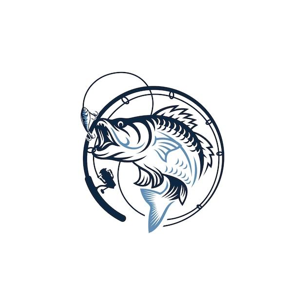 Imagen de logotipo de pesca vintage Vector Premium