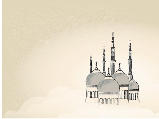 Imagen del paisaje de la ciudad mezquita en ramadán. Vector Premium