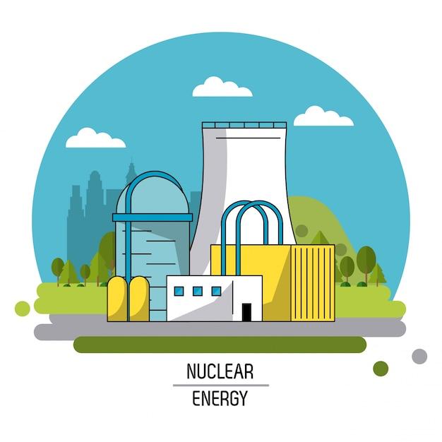 Imagen De Paisaje De Color Planta De Producción De Energía Nuclear