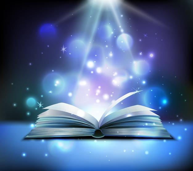 Imagen realista de libro mágico abierto con brillantes rayos de luz brillantes que iluminan páginas de bolas flotantes oscuras | Vector Gratis