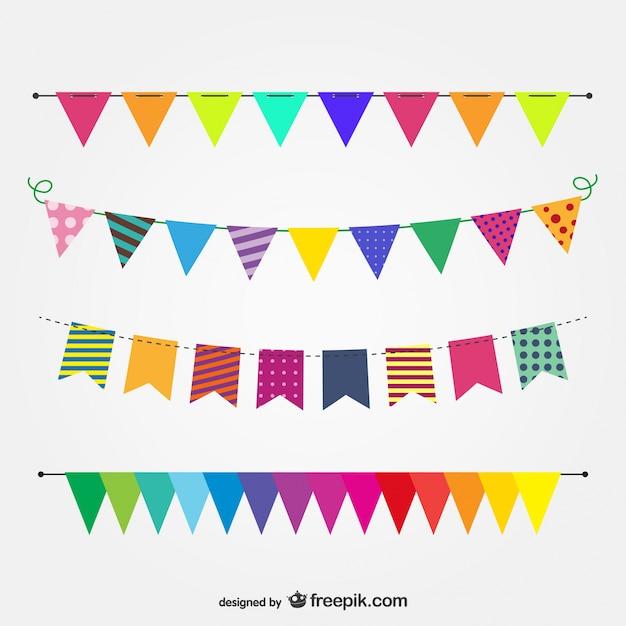 Imagen vectorial banderas de fiesta vector gratuito